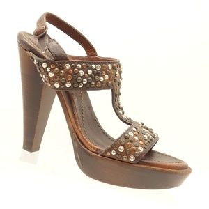 FRYE Wedge Sandals Brown Studded Leather Heels